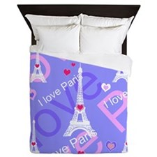 Girly I LOVE PARIS Queen Duvet