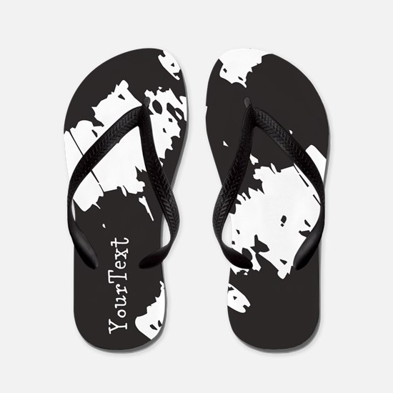 Personalized Custom Text Black White Flip Flops