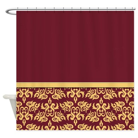 Damask Wallpaper Red Shower Curtain By Jqdesigns