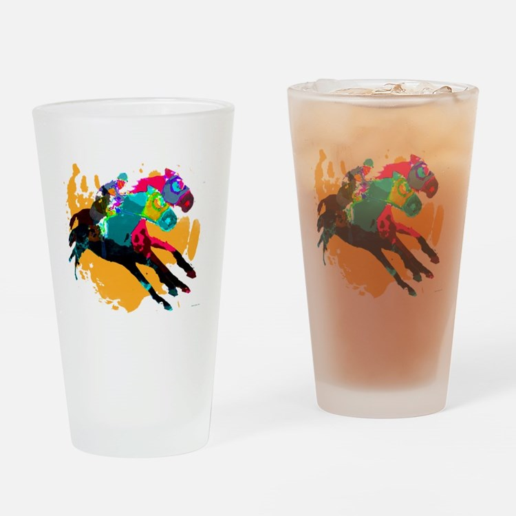 Horse Racing Drinking Glass