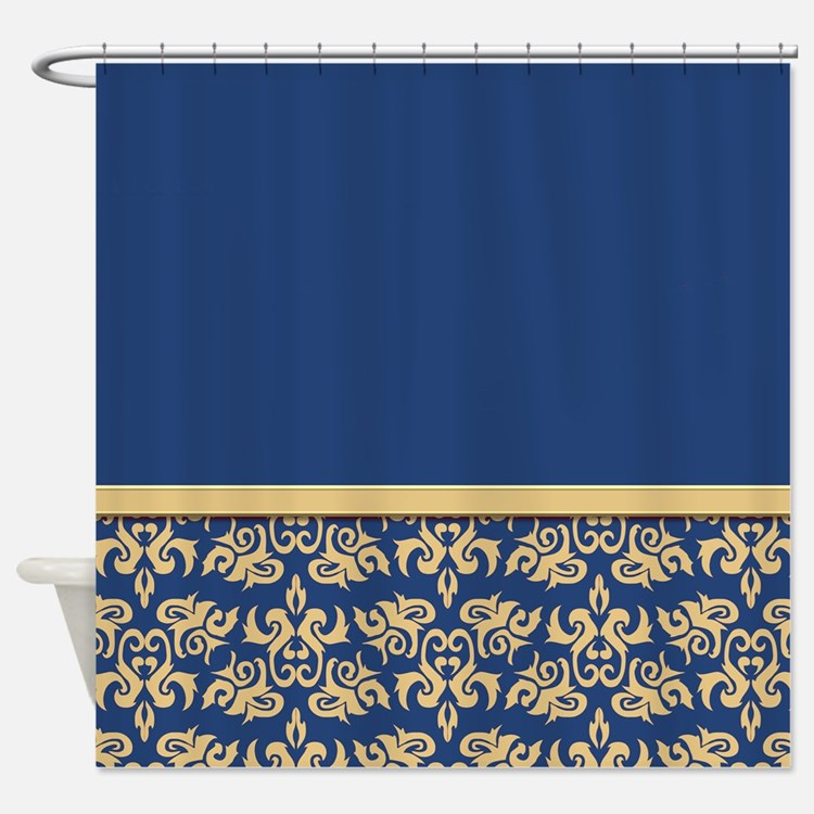 Damask Wallpaper Blue Shower Curtain - Royal Blue And Gold Shower Curtains Royal Blue And Gold Fabric