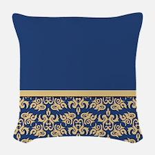 Damask Wallpaper Blue Woven Throw Pillow