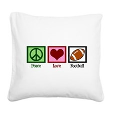 Peace Love Football Square Canvas Pillow