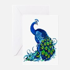 Beautiful Blue Peacock Greeting Cards