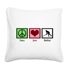 Peace Love Hockey Square Canvas Pillow