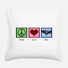 Peace Love Bats Square Canvas Pillow