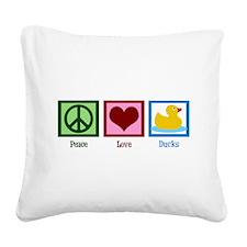 Peace Love Ducks Square Canvas Pillow