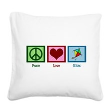 Peace Love Kites Square Canvas Pillow