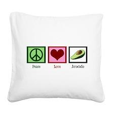 Peace Love Avocado Square Canvas Pillow