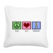 Peace Love Lifeguard Square Canvas Pillow