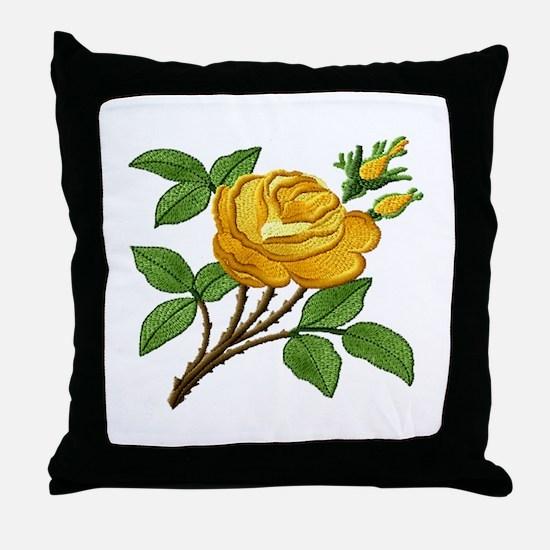 Needlework Yellow Rose Throw Pillow
