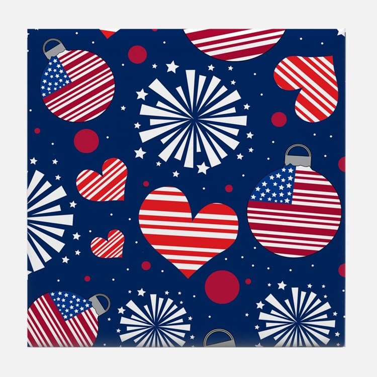 4th of July Pattern Tile Coaster