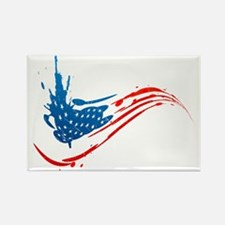 Abstract Paint American Flag Rectangle Magnet