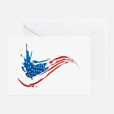 Abstract Paint American Flag Greeting Card