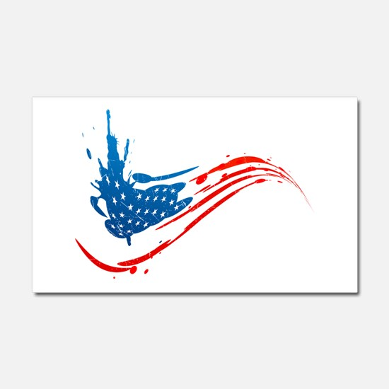 Abstract Paint American Flag Car Magnet 20 x 12