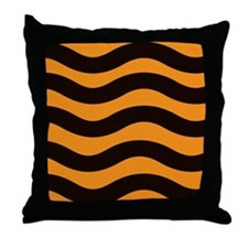 Cantaloupe Black Stripes Throw Pillow