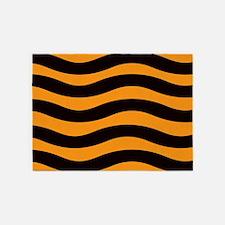 Cantaloupe Black Stripes 5'x7'Area Rug
