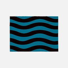 Sleek Blue Waves 5'x7'Area Rug