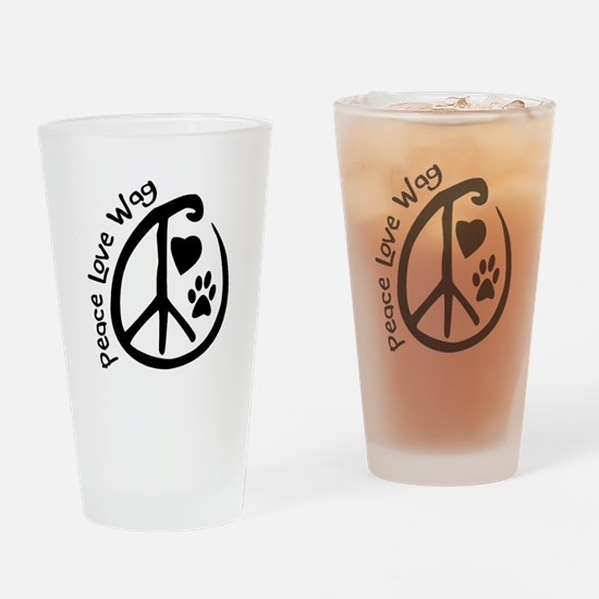Peace Love Wag Drinking Glass