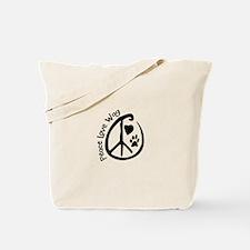 Peace Love Wag Tote Bag