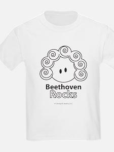 Beethoven Rocks Kids Dark Brown and White T-Shirt