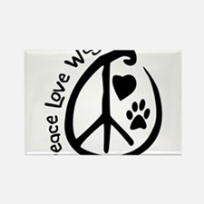 Peace Love Wag Rectangle Magnet