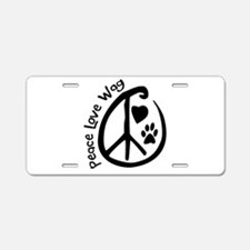 Peace Love Wag Aluminum License Plate