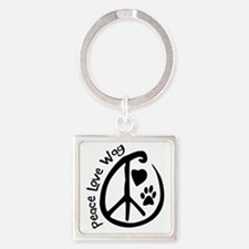 Peace Love Wag Square Keychain