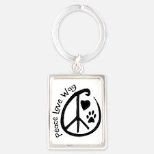 Peace Love Wag Portrait Keychain