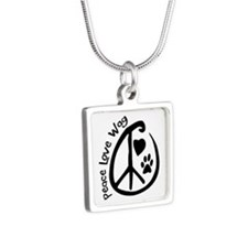 Peace Love Wag Silver Square Necklace