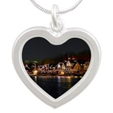 Light Houses in Philly Silver Heart Necklace