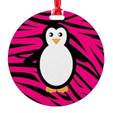 Penguin on Pink Zebra Stripes Ornament
