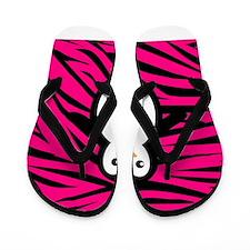 Penguin on Pink Zebra Stripes Flip Flops
