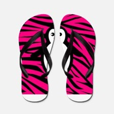 Penguin on Pink Zebra Stripes Flip Flops