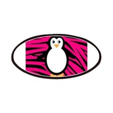Penguin on Pink Zebra Stripes Patches