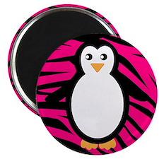 Penguin on Pink Zebra Stripes Magnets