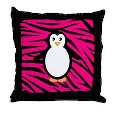Penguin on Pink Zebra Stripes Throw Pillow