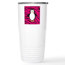 Penguin on Pink Zebra Stripes Travel Mug