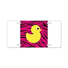 Yellow Duck on Pink Zebra Stripes Aluminum License