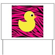 Yellow Duck on Pink Zebra Stripes Yard Sign