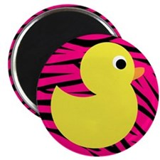 Yellow Duck on Pink Zebra Stripes Magnets