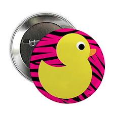 "Yellow Duck on Pink Zebra Stripes 2.25"" Button"