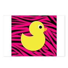 Yellow Duck on Pink Zebra Stripes Postcards (Packa