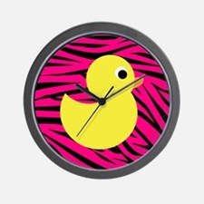 Yellow Duck on Pink Zebra Stripes Wall Clock