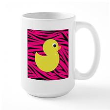 Yellow Duck on Pink Zebra Stripes Mugs