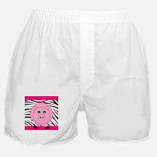 Pink Pig on Black Zebra Stripes Boxer Shorts