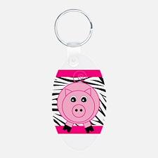 Pink Pig on Black Zebra Stripes Keychains