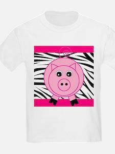 Pink Pig on Black Zebra Stripes T-Shirt