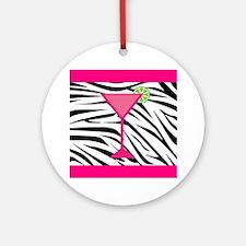 Pink Cocktail on Zebra Stripes Ornament (Round)