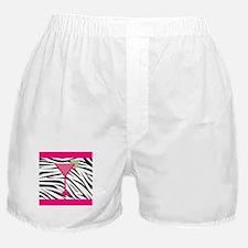 Pink Cocktail on Zebra Stripes Boxer Shorts